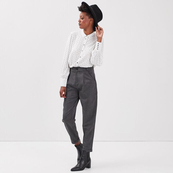 Pantalon cigarette à pinces noir femme