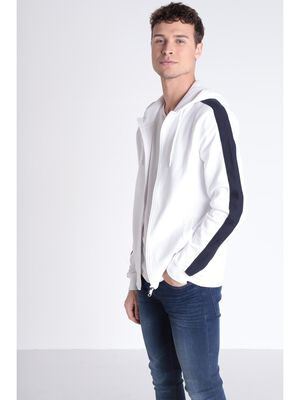 Sweat zippe blanc homme