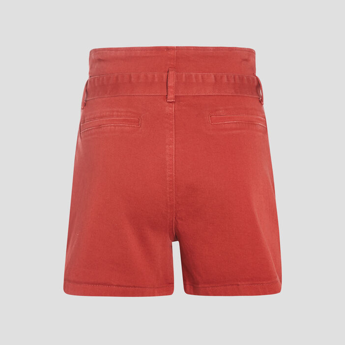 Short large à ceinture nouée orange foncé femme