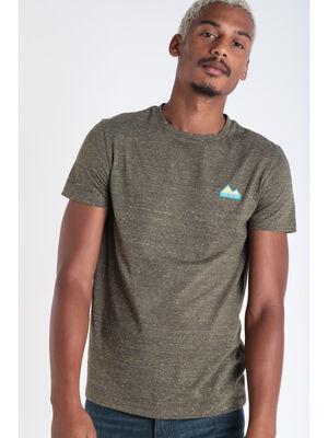 T shirt manches courtes vert olive homme