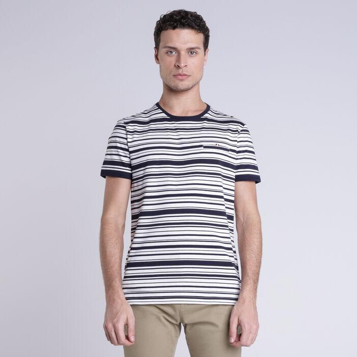 T-shirt rayé ecru homme
