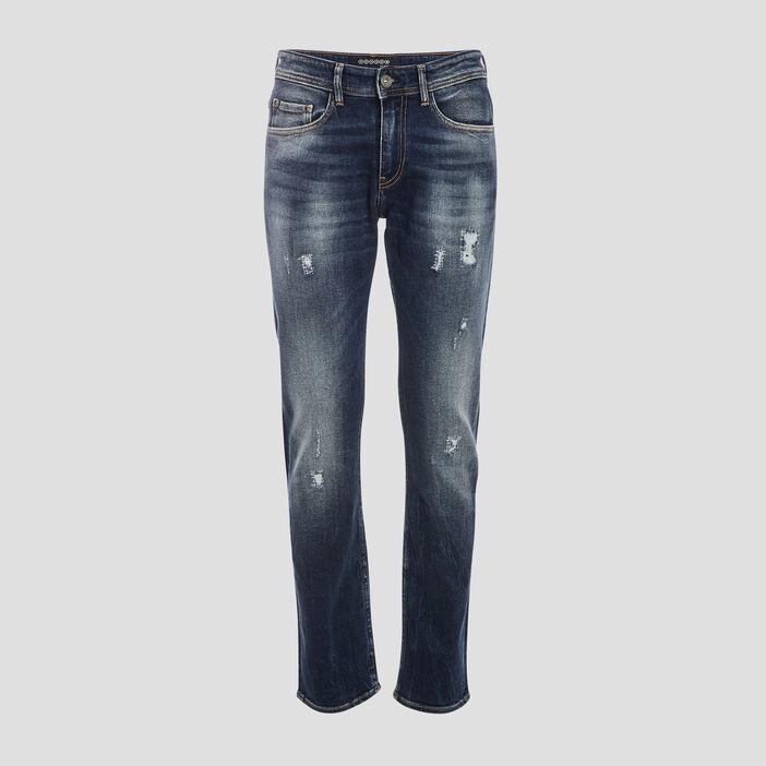 Jeans straight détails destroy denim stone homme