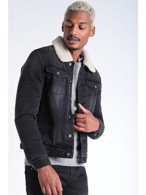 Veste droite boutonnee en jean noir homme