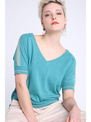 Pull manches courtes col en V bleu canard femme