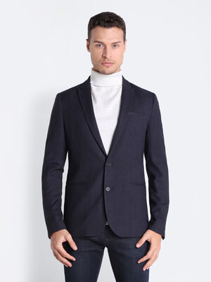 Veste blazer droite boutonnee bleu marine homme