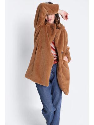 Manteau droit fausse fourrure marron clair femme