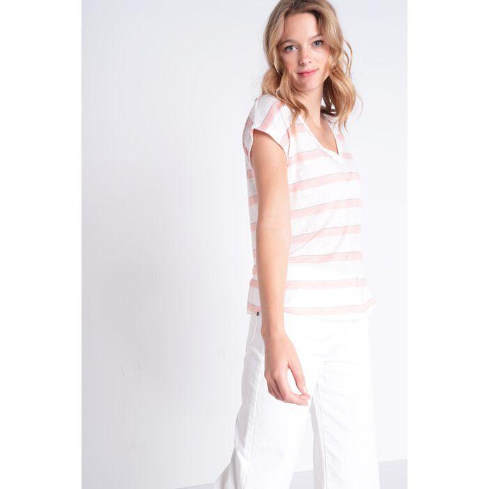 T-shirt manches courtes rose clair femme