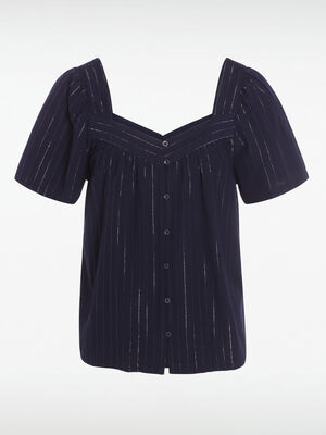 Chemise encolure carree bleu marine femme