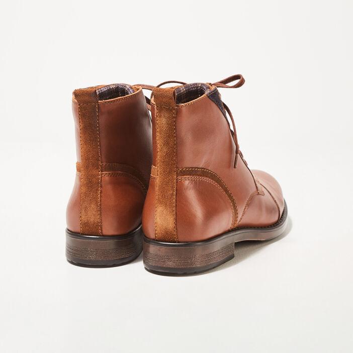 Bottines plates en cuir marron foncé homme