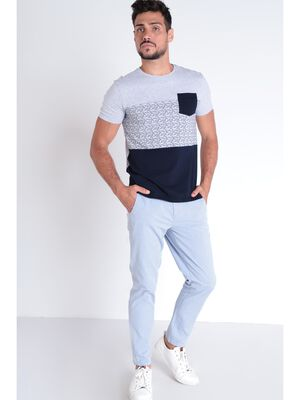 Pantalon chino droit bleu lavande homme
