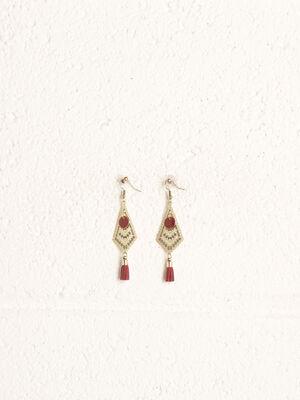 Boucles doreilles pendantes rouge femme