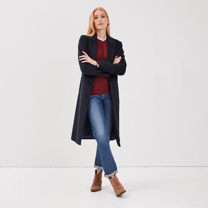 Manteau droit ceinturé bleu foncé femme