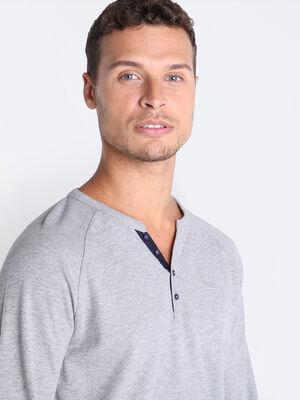 T shirt Instinct col tunisien gris fonce homme