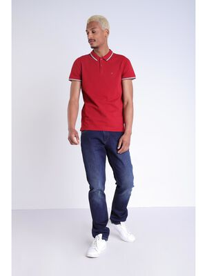 Polo manches courtes rouge fonce homme