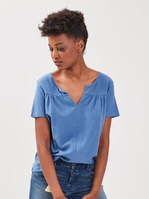 T shirt eco responsable bleu fonce femme
