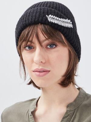 Bonnet avec detail bijoux noir femme