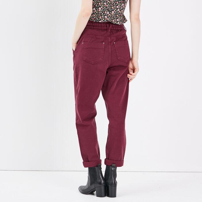 Pantalon slouchy taille haute prune femme