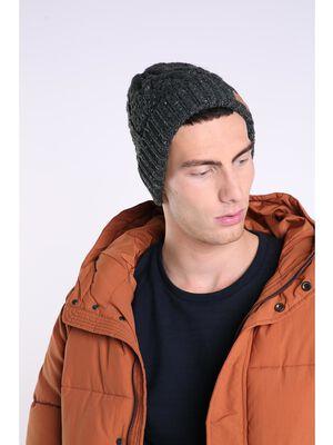 bonnet homme en tricot torsade gris fonce