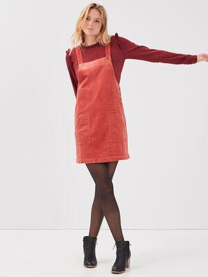 Robe droite velours cotele terracotta femme