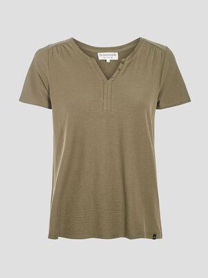 T shirt eco responsable vert kaki femme