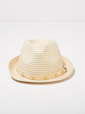 Chapeau bande brodee sable femme