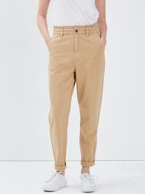 Pantalon slouchy taille haute beige femme
