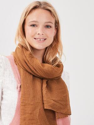 Foulard plisse marron femme