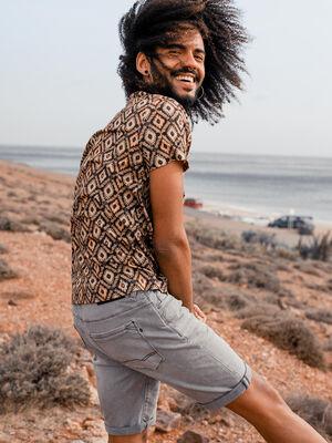 T shirt ethnique marron fonce homme