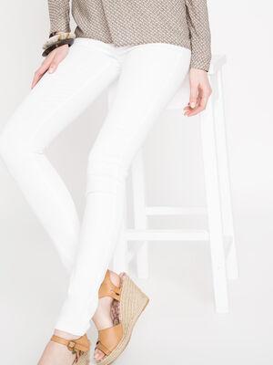 Jeans jegging skinny taille haute blanc femme