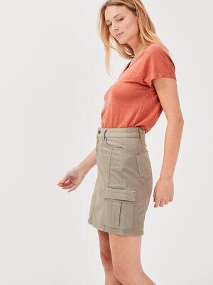 Jupe droite poches cotes vert kaki femme