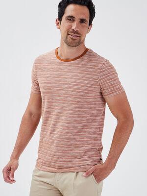 T shirt manches courtes marron homme