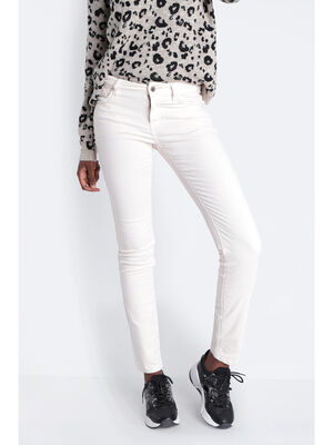 Pantalon slim effet velours ecru femme