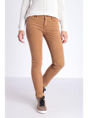 Pantalon slim effet velours marron clair femme