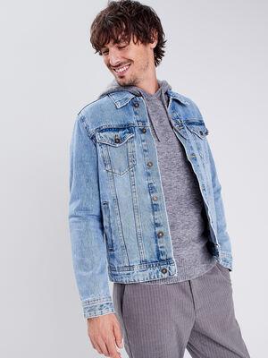 Veste droite boutonnee en jean denim bleach homme