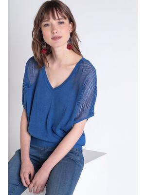 Pull manches courtes bleu femme