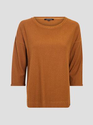 T shirt manches 34 marron cognac femme