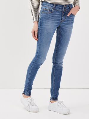 Jeans skinny detail zippe denim stone femme