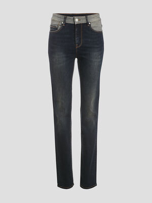 Jeans regular detail taille denim brut femme