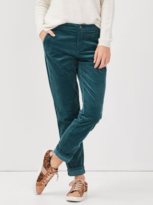 Pantalon chino velours cotele vert canard femme