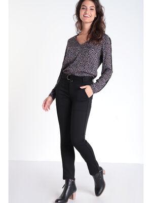 Pantalon droit a ceinture noir femme