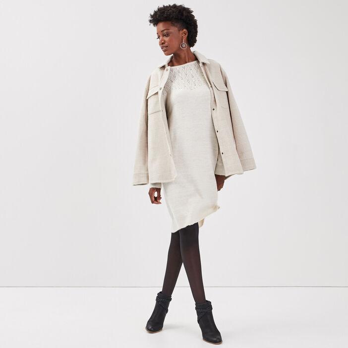 Robe pull droite avec noeud ecru femme
