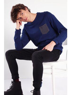 T shirt manches longues poche bleu fonce homme
