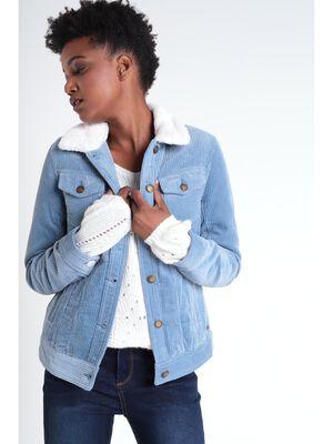 Veste droite velours cotele bleu gris femme