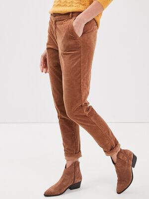 Pantalon chino velours cotele marron femme