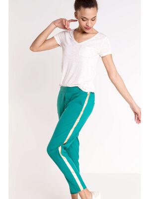 Pantalon droit city taille haute vert femme