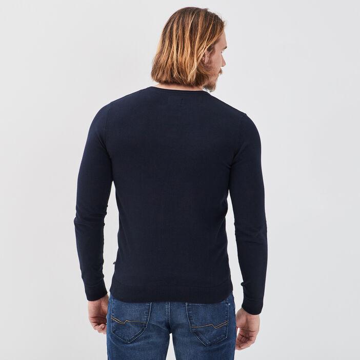 Pull éco-responsable bleu marine homme