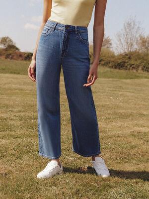 Jeans wide leg denim stone femme