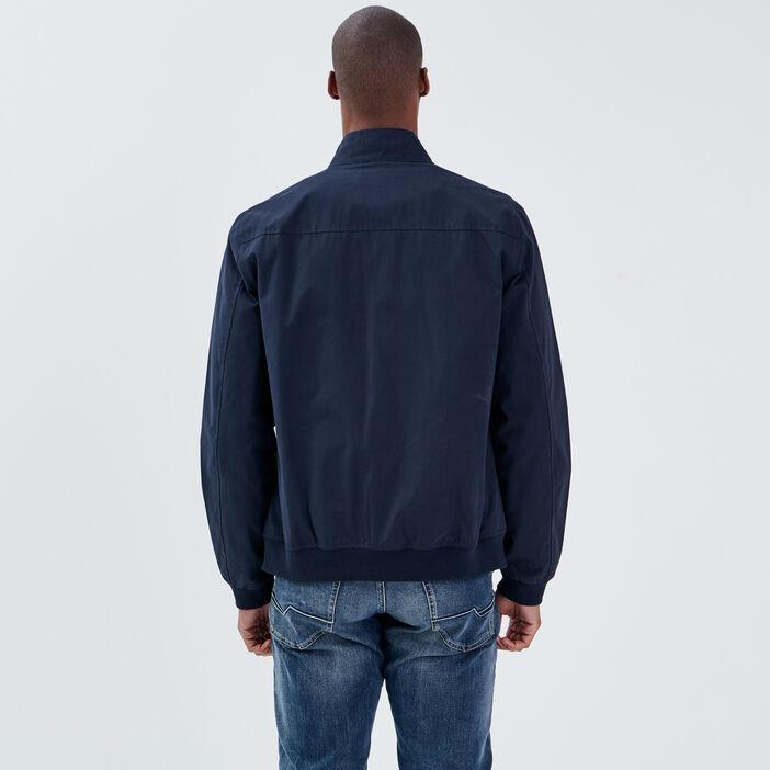 Veste droite avec col montant bleu marine homme