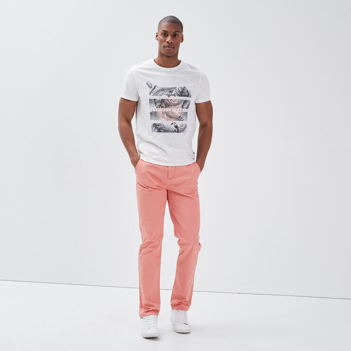 Pantalon slim Instinct chino rose saumon homme