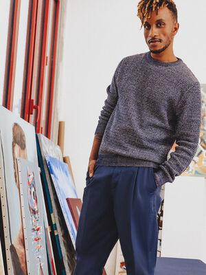 Pantalon chino avec porte cles bleu fonce homme